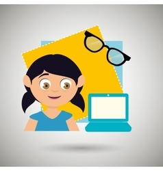 Kid with laptop computer and glasses isolated vector