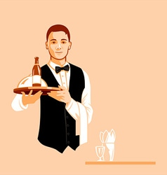 Waiter with a serving tray vector