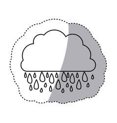 monochrome contour sticker of cloud with rain vector image