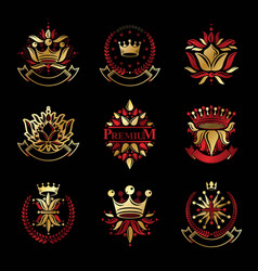 flowers royal symbols floral and crowns vector image