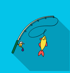 fishing rod and fish icon in flat style isolated vector image