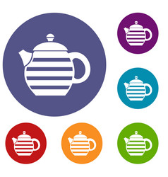 Striped teapot icons set vector