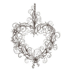 heart drawn ornamental vector image