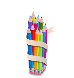 Colorful pencils with ribbon on white background vector