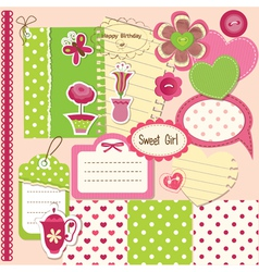 Scrapbook baby girl set vector