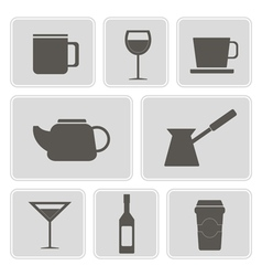 Icons with containers drinks vector