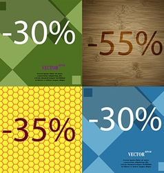 55 35 30 icon set of percent discount on abstract vector