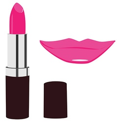 Lipstick and lips kiss vector