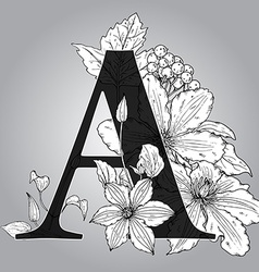 Capital Letter A floral monogram with hand drawn vector image