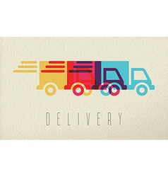 Delivery service truck icon concept color design vector