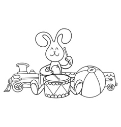 Rabbit with a drum vector