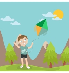 Happy boy launches kite in the mountains vector