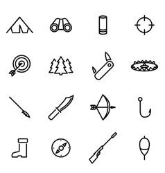 Thin line icons - hunting vector
