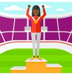 Athlete with medal and hands raised vector