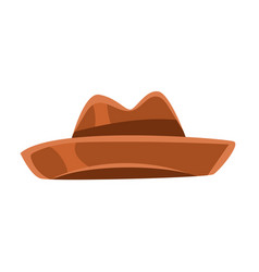 Brown vintage fedora hat vector