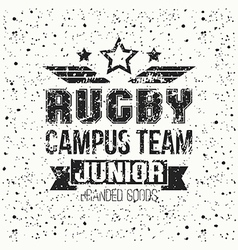 College rugby junior team emblem vector image