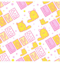 cute cat seamless pattern in patchwork style vector image vector image