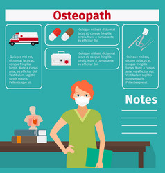 Female osteopath and medical equipment icons vector