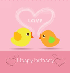 happy birthday to you with two bird vector image vector image
