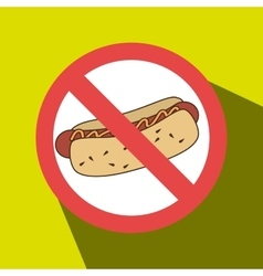 Hot dog fast food unhealth prohibited vector