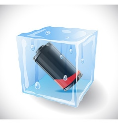Ice cube with empty battery vector