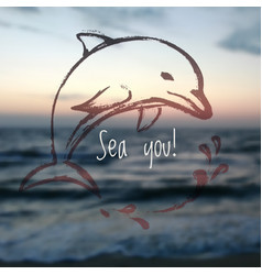 ink hand drawn dolphin on blurred sea background vector image vector image