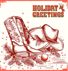 merry christmas and New Year card with cowboy boot vector image vector image