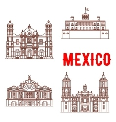 Mexican architecture icons vector