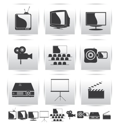 Movie icons Film and square gray vector image