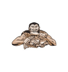 Neanderthal man eating paleo diet etching vector