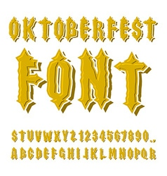 Oktoberfest font ancient gothic alphabet vintage vector