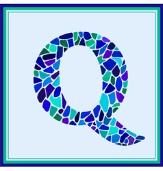 Q - letter - green watercolor mosaic vector