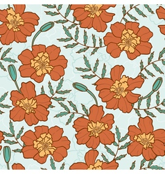 Seamless texture with marigold flowers vector
