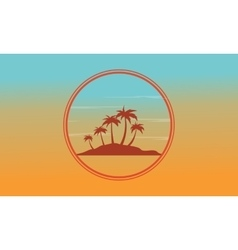 Silhouette of island at sunset scenery vector