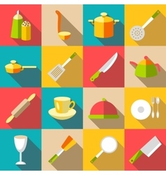 Tableware items icons set flat style vector