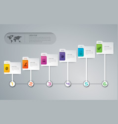Timeline infographics design with 6 options vector