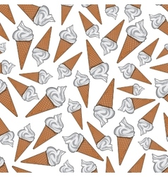 Vanilla gelato ice cream cones seamless pattern vector