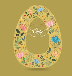 Yellow letter o with floral decor and necklace vector