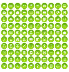 100 smartphone icons set green circle vector