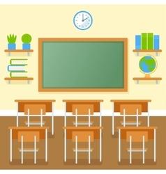 School classroom with chalkboard flat vector