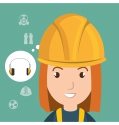 Woman worker equipment protection vector