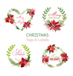 Christmas poinsettia flowers banners and tags vector