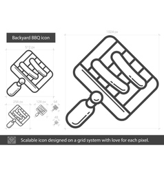 Backyard bbq line icon vector