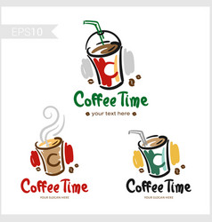 Set of retro coffee badge label logo design in vector