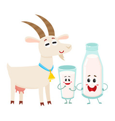 Farm goat and milk bottle characters with smiling vector