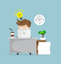 businessman working with idea and laptop at vector image