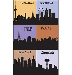 Silhouettes of famous cities vector image