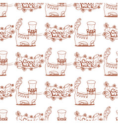 Seamless pattern with cat and banner of good luck vector