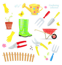 Lovely collection of colorful gardening tools vector