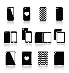 Smartphone tablet case icons set vector